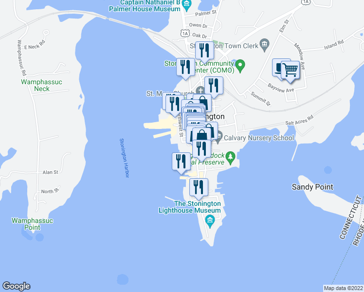 map of restaurants, bars, coffee shops, grocery stores, and more near 1 Church Street in Stonington