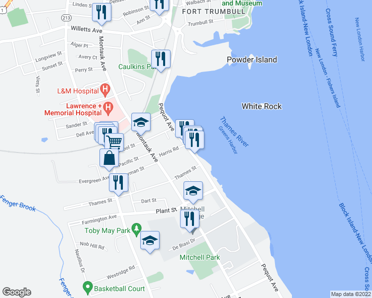 map of restaurants, bars, coffee shops, grocery stores, and more near 249 Pequot Avenue in New London