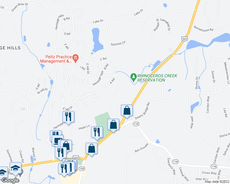 map of restaurants, bars, coffee shops, grocery stores, and more near 69 Heritage Hills Drive in Westchester County