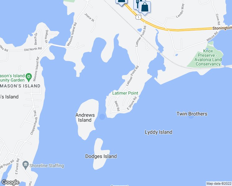 map of restaurants, bars, coffee shops, grocery stores, and more near 2 North Shore Way in Stonington