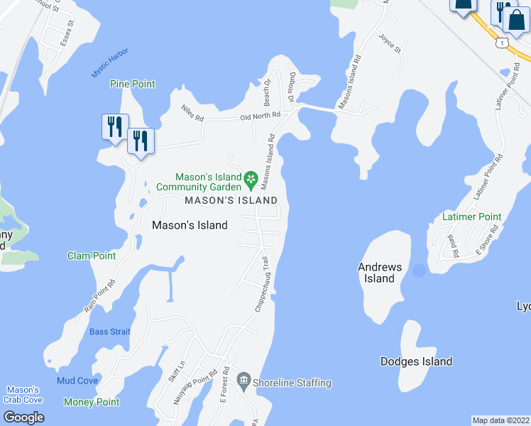 map of restaurants, bars, coffee shops, grocery stores, and more near 6 Plover Lane in Stonington