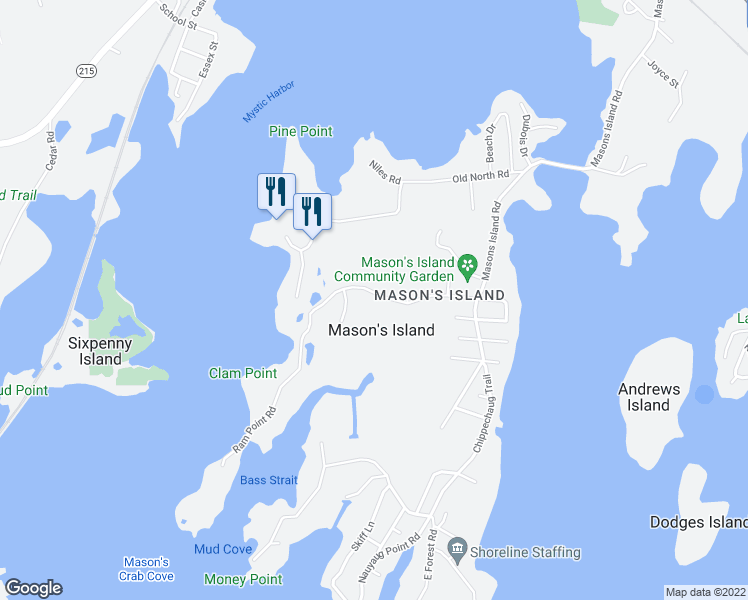 map of restaurants, bars, coffee shops, grocery stores, and more near 6 Holmes Street in Mystic
