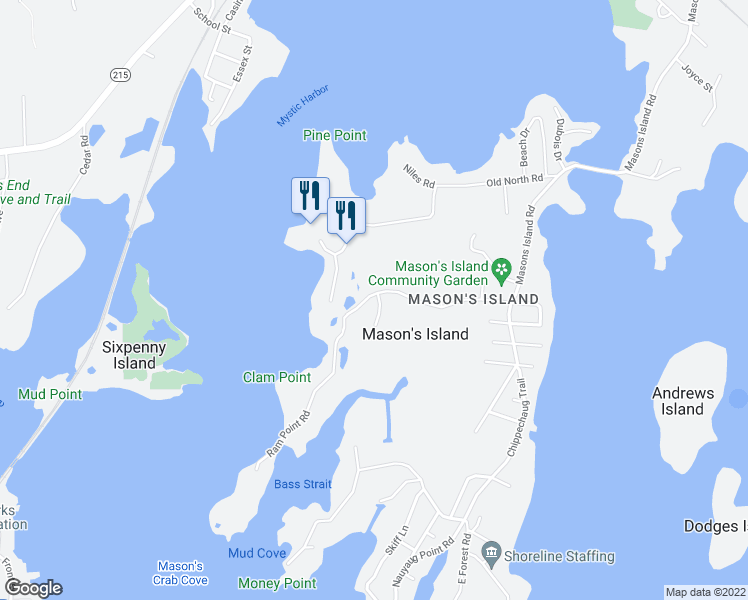 map of restaurants, bars, coffee shops, grocery stores, and more near 5 Heron Road in Stonington