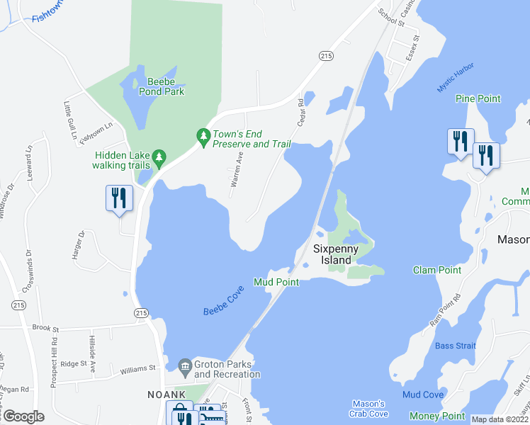 map of restaurants, bars, coffee shops, grocery stores, and more near 210 Cedar Road in Mystic