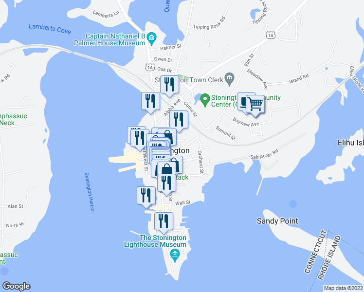 map of restaurants, bars, coffee shops, grocery stores, and more near 18 Elm Street in Stonington