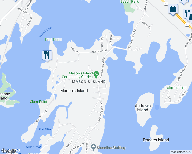 map of restaurants, bars, coffee shops, grocery stores, and more near 23 Cormorant Road in Stonington