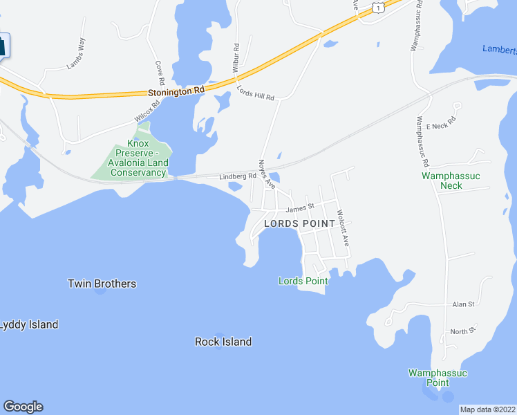 map of restaurants, bars, coffee shops, grocery stores, and more near 5 James Street in Stonington