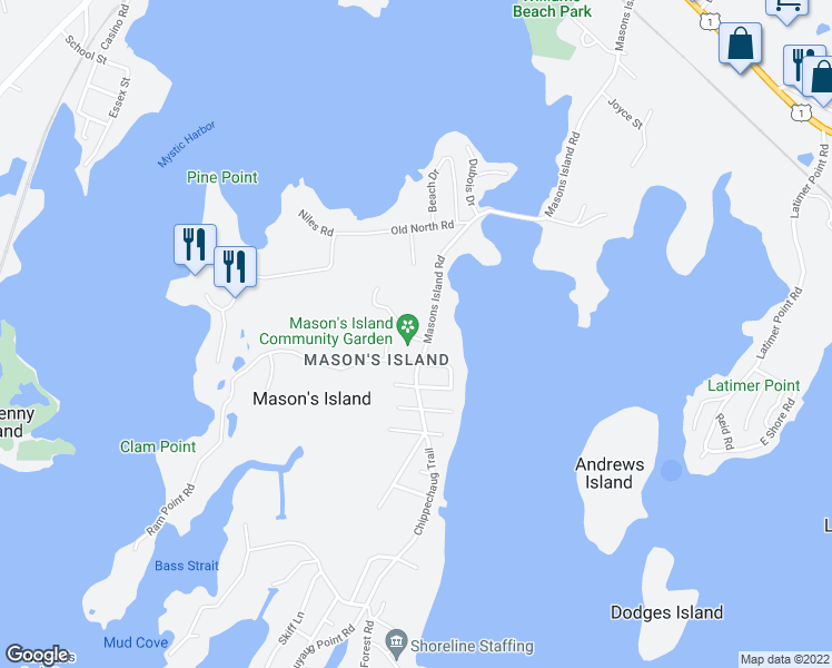 map of restaurants, bars, coffee shops, grocery stores, and more near 16 Cormorant Road in Stonington