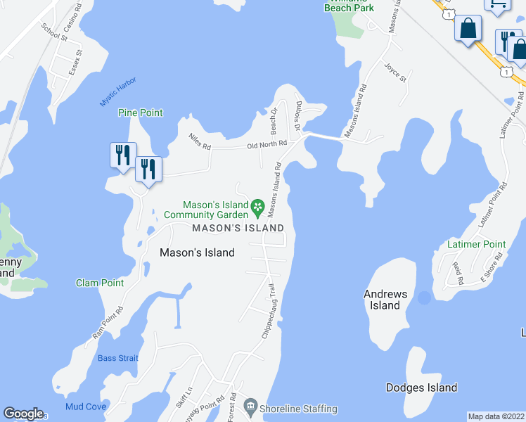 map of restaurants, bars, coffee shops, grocery stores, and more near 16 Cormorant Road in Mystic