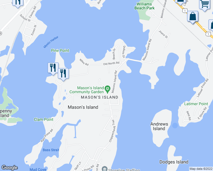 map of restaurants, bars, coffee shops, grocery stores, and more near 6 Holmes Street in Stonington