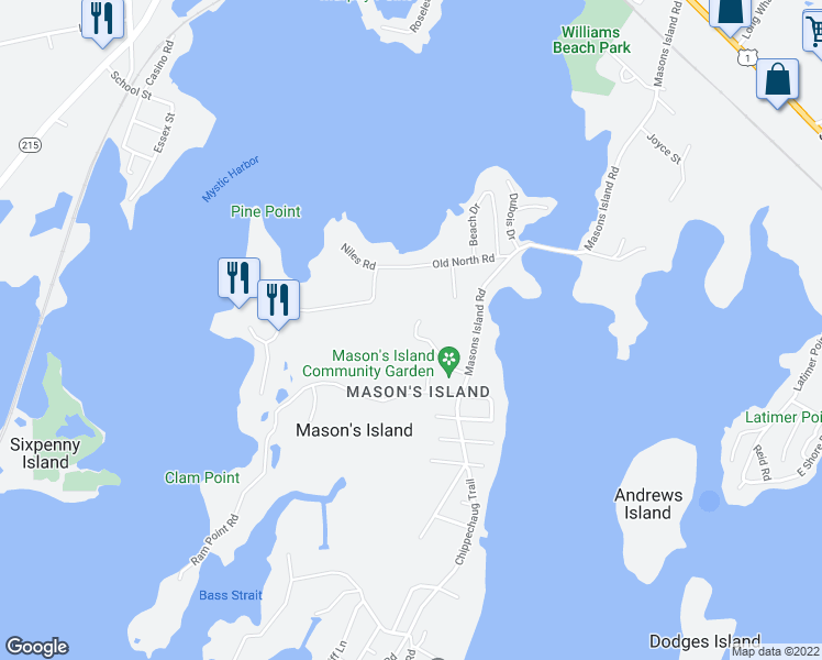 map of restaurants, bars, coffee shops, grocery stores, and more near 1 Egret Road in Stonington