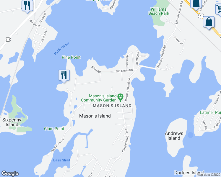 map of restaurants, bars, coffee shops, grocery stores, and more near 9 Egret Road in Stonington
