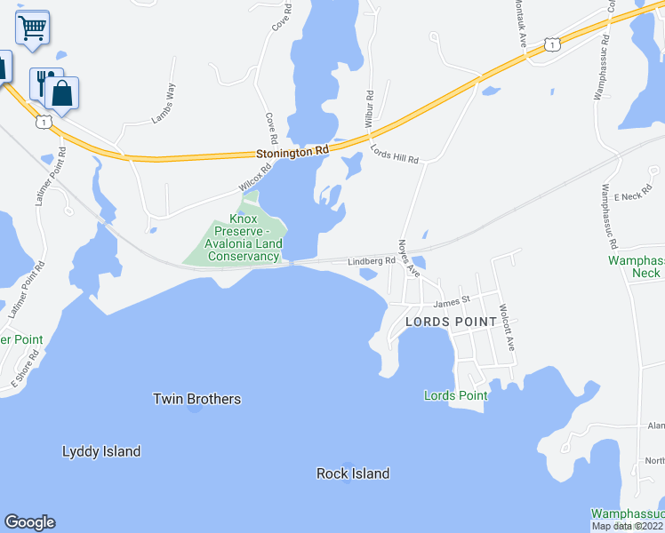 map of restaurants, bars, coffee shops, grocery stores, and more near 55 Lindberg Road in Stonington