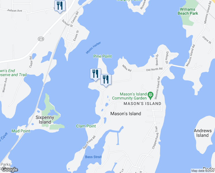 map of restaurants, bars, coffee shops, grocery stores, and more near 19 Quarry Road in Stonington
