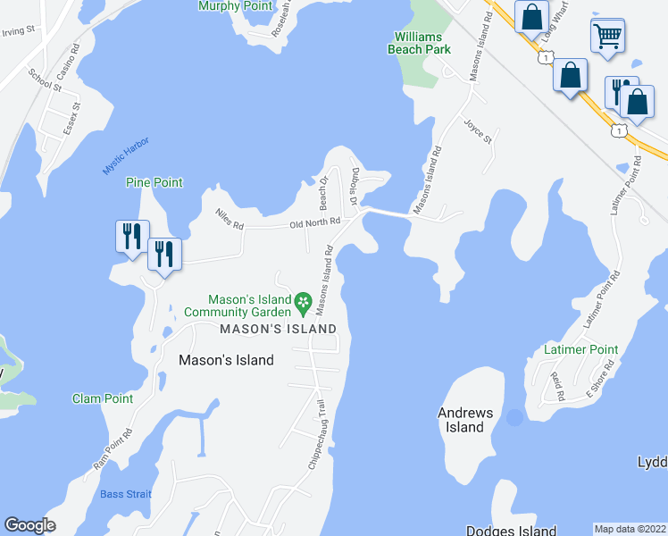 map of restaurants, bars, coffee shops, grocery stores, and more near 183 Masons Island Road in Stonington