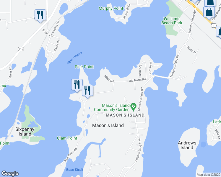 map of restaurants, bars, coffee shops, grocery stores, and more near 76 Old North Road in Stonington