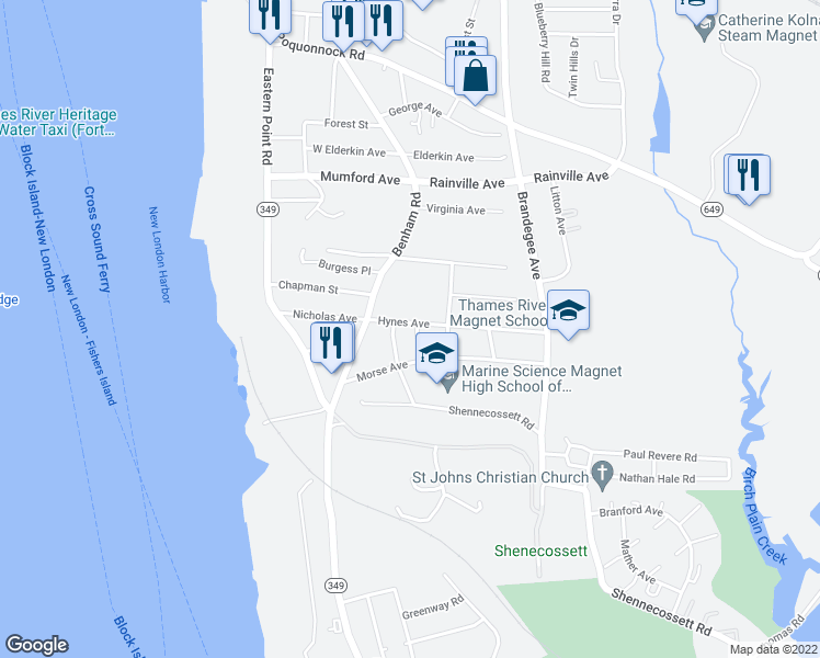 map of restaurants, bars, coffee shops, grocery stores, and more near 39 Hynes Avenue in Groton