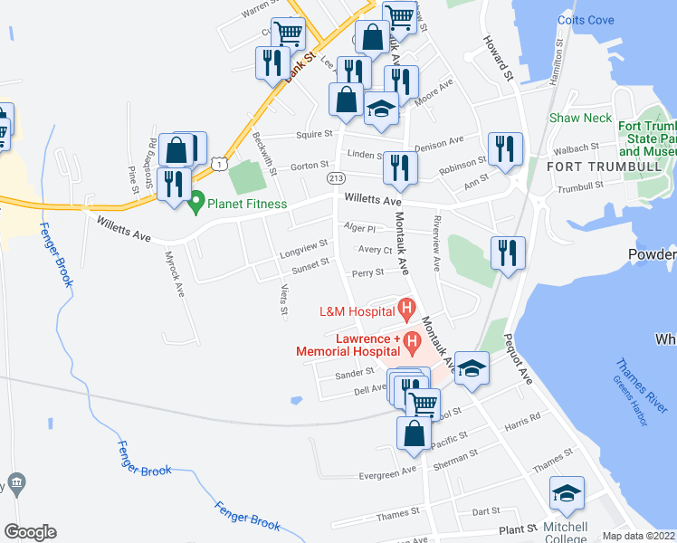 map of restaurants, bars, coffee shops, grocery stores, and more near 273 Ocean Avenue in New London