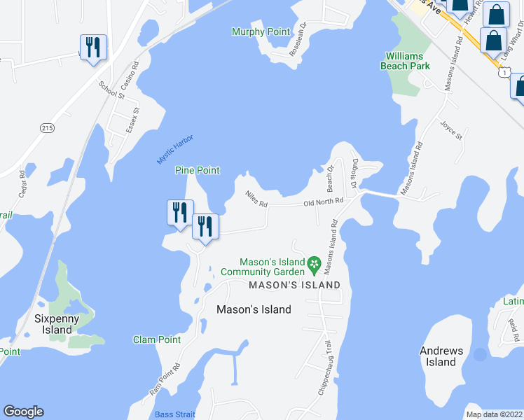 map of restaurants, bars, coffee shops, grocery stores, and more near 4 Church Street in Stonington