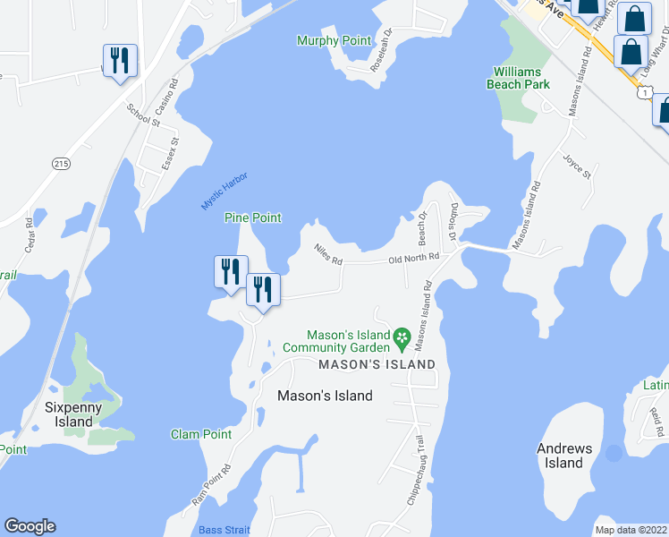 map of restaurants, bars, coffee shops, grocery stores, and more near 3 Niles Road in Mystic