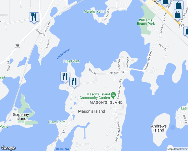 map of restaurants, bars, coffee shops, grocery stores, and more near 3 Niles Road in Stonington