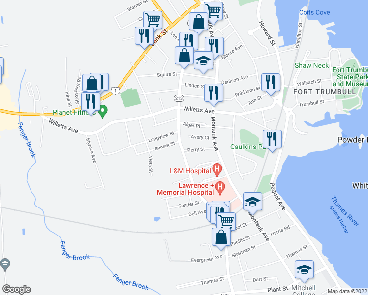 map of restaurants, bars, coffee shops, grocery stores, and more near 272 Ocean Ave in New London