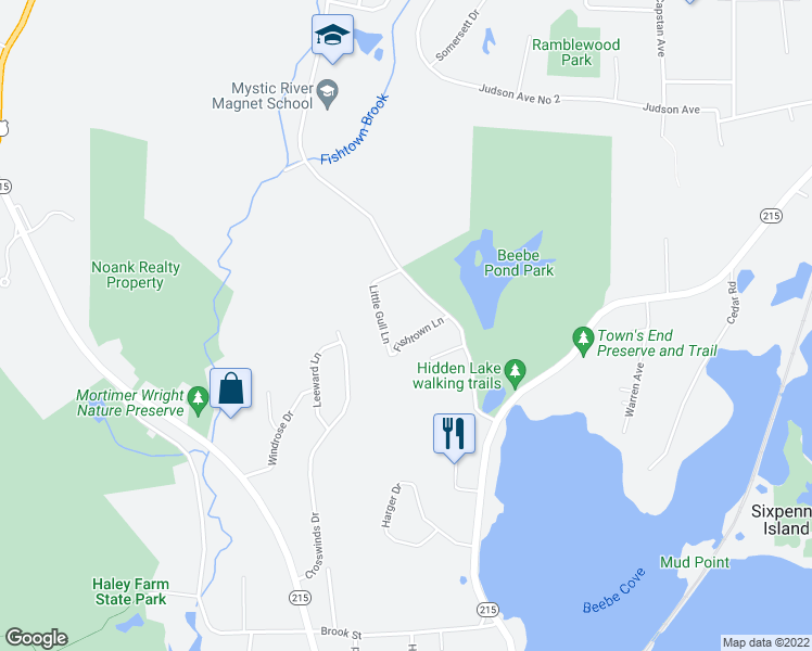 map of restaurants, bars, coffee shops, grocery stores, and more near 40 Fishtown Lane in Groton