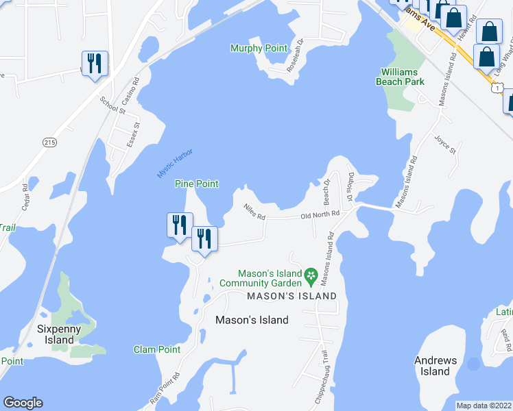 map of restaurants, bars, coffee shops, grocery stores, and more near 12 Niles Road in Mystic