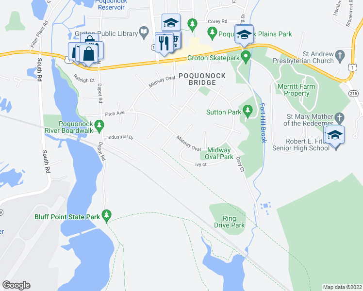 map of restaurants, bars, coffee shops, grocery stores, and more near 137 Midway Oval in Groton