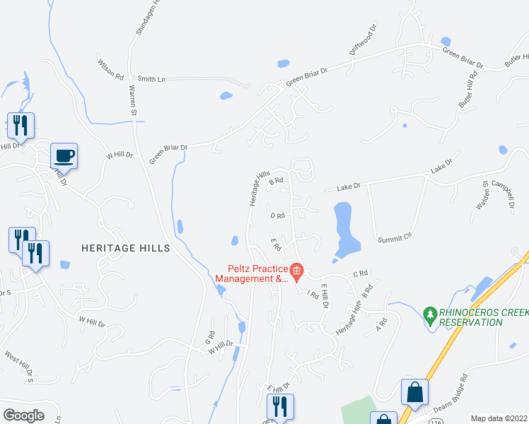 map of restaurants, bars, coffee shops, grocery stores, and more near 197 Heritage Hills Drive in Westchester County