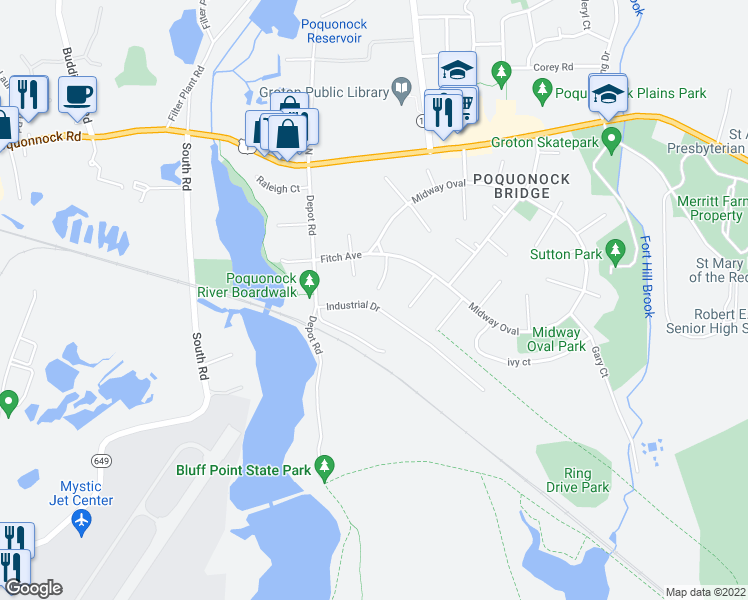 map of restaurants, bars, coffee shops, grocery stores, and more near 21 Miami Court in Groton