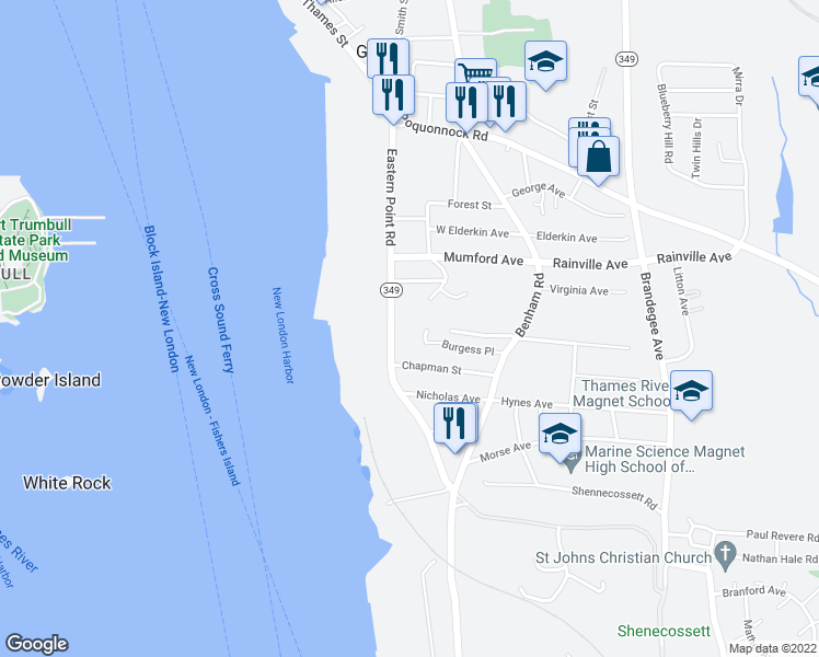 map of restaurants, bars, coffee shops, grocery stores, and more near 232 Eastern Point Road in Groton