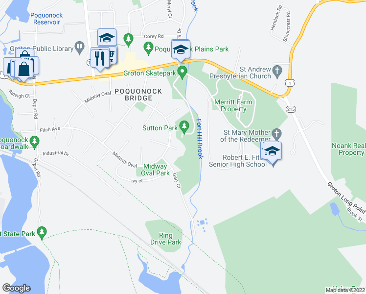 map of restaurants, bars, coffee shops, grocery stores, and more near 16 Elizabeth Court in Groton