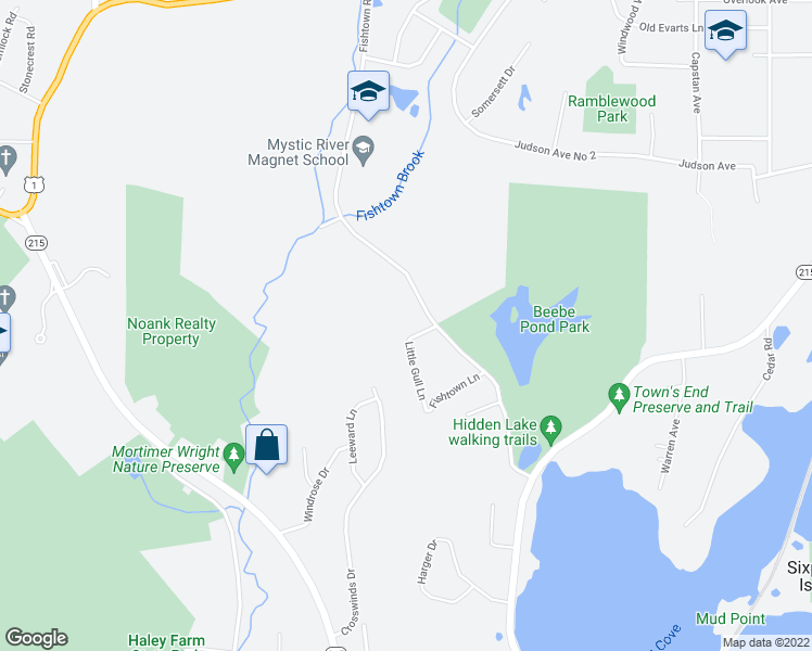 map of restaurants, bars, coffee shops, grocery stores, and more near 393 Fishtown Road in Groton