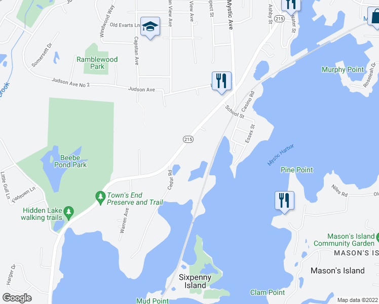 map of restaurants, bars, coffee shops, grocery stores, and more near 522 Noank Road in Groton
