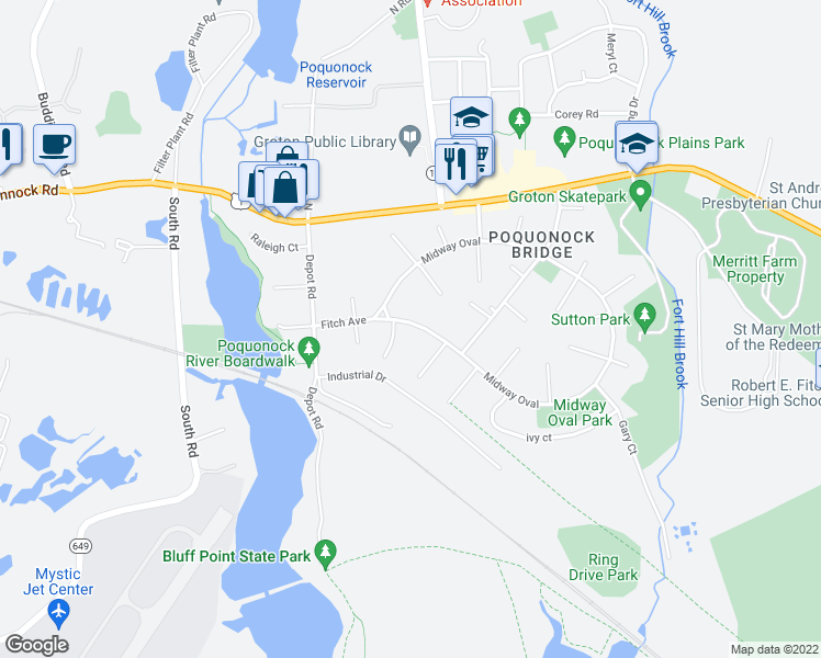 map of restaurants, bars, coffee shops, grocery stores, and more near 185 Midway Oval in Groton