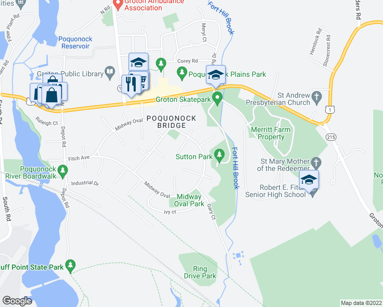 map of restaurants, bars, coffee shops, grocery stores, and more near 10 Denver Court in Groton