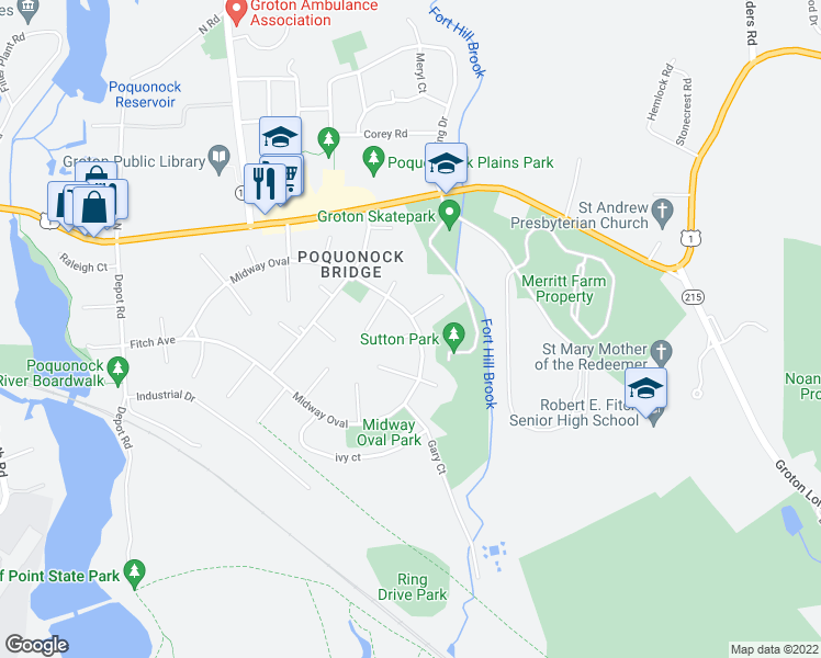 map of restaurants, bars, coffee shops, grocery stores, and more near 16 Midway Oval in Groton