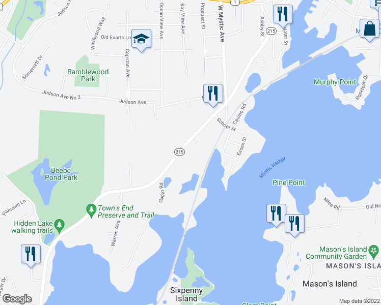 map of restaurants, bars, coffee shops, grocery stores, and more near 492 Noank Road in Mystic