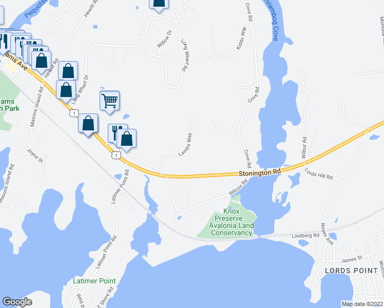 map of restaurants, bars, coffee shops, grocery stores, and more near 352-376 Flanders Road in Stonington