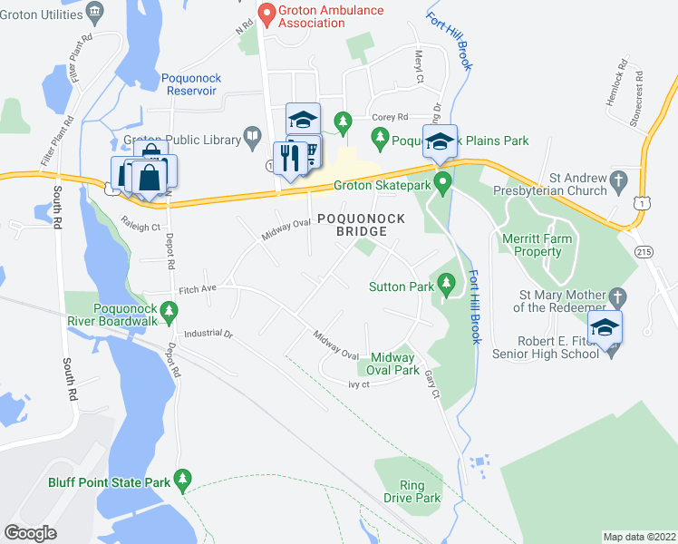 map of restaurants, bars, coffee shops, grocery stores, and more near 5 Saint Joseph Court in Groton
