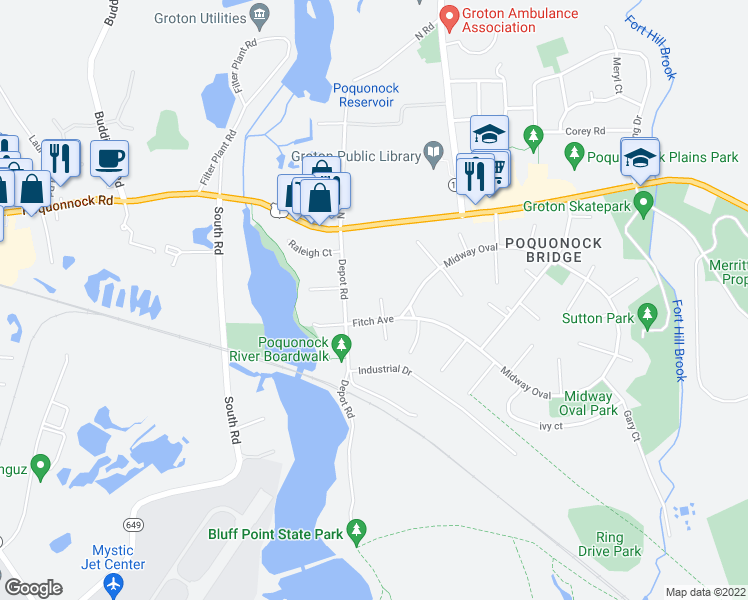 map of restaurants, bars, coffee shops, grocery stores, and more near 1 Oakland Court in Groton