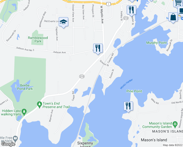 map of restaurants, bars, coffee shops, grocery stores, and more near 7 Bradley Lane in Groton