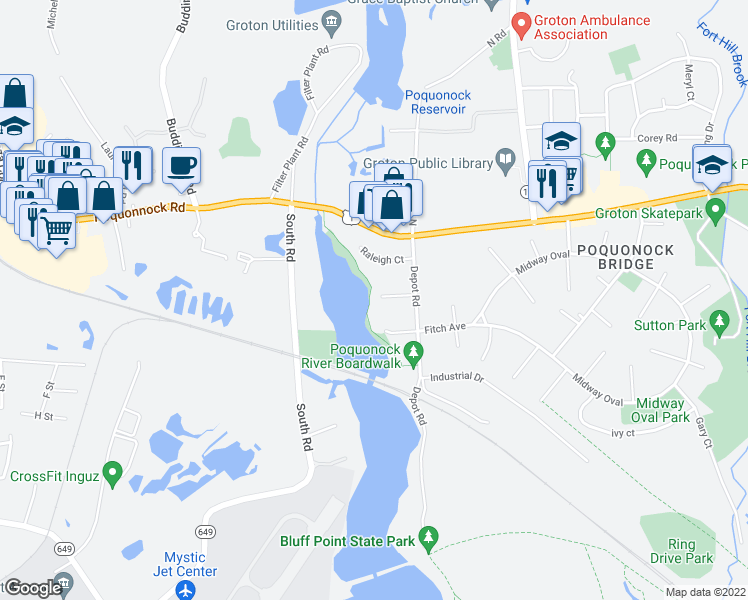 map of restaurants, bars, coffee shops, grocery stores, and more near 31 Quincy Court in Groton