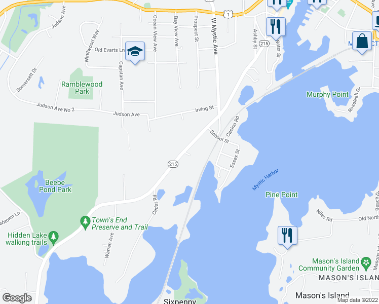 map of restaurants, bars, coffee shops, grocery stores, and more near 460 Noank Road in Groton