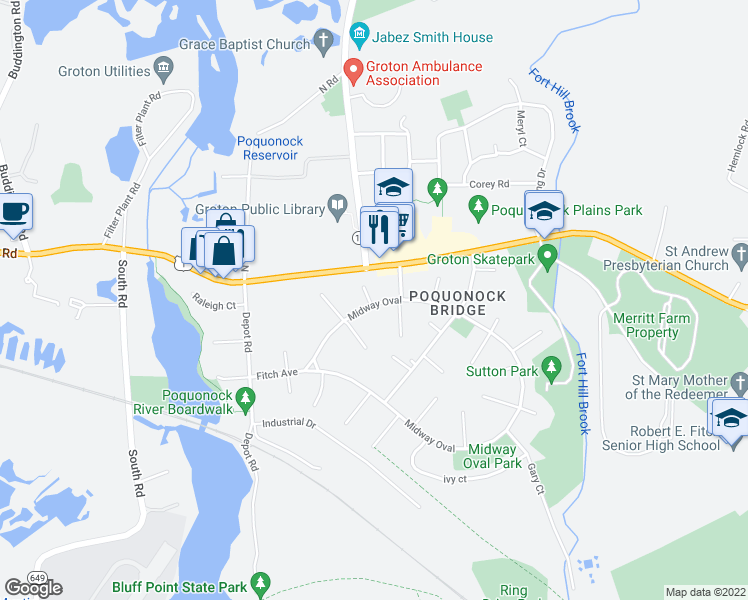 map of restaurants, bars, coffee shops, grocery stores, and more near 4 Utica Court in Groton