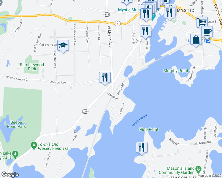 map of restaurants, bars, coffee shops, grocery stores, and more near 50 West Mystic Avenue in Groton