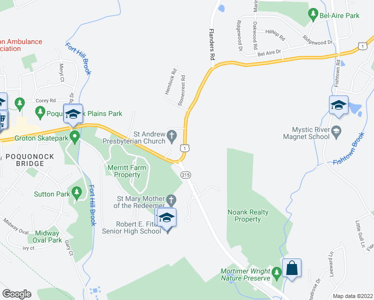 map of restaurants, bars, coffee shops, grocery stores, and more near 31 New London Road in Groton