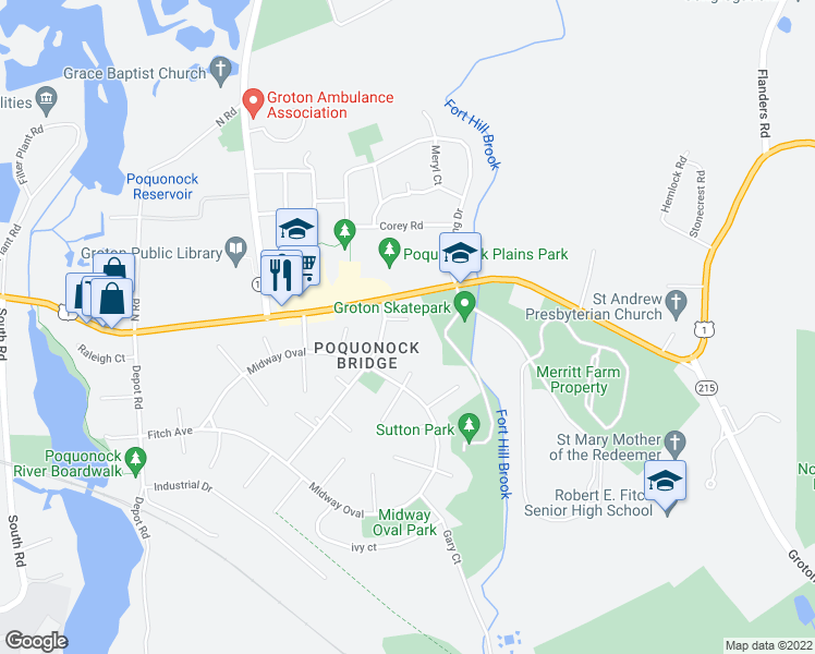 map of restaurants, bars, coffee shops, grocery stores, and more near 10 Fort Hill Court in Groton