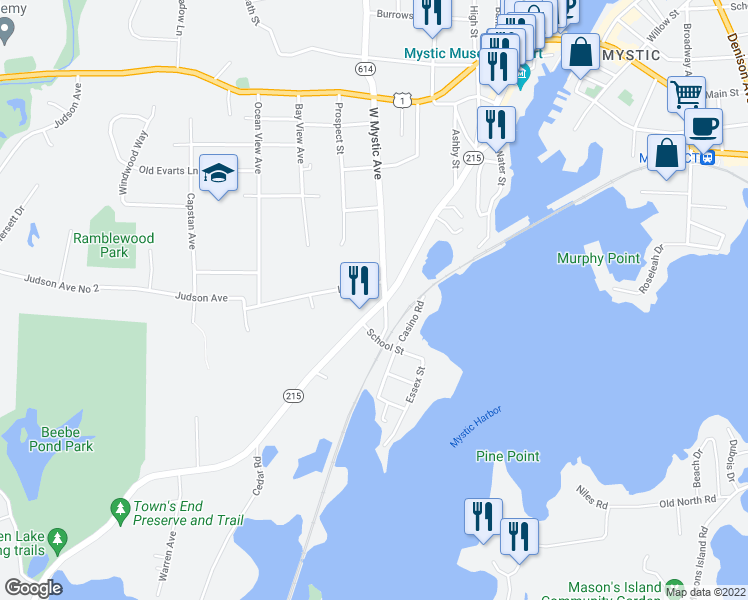 map of restaurants, bars, coffee shops, grocery stores, and more near 46 West Mystic Avenue in Groton